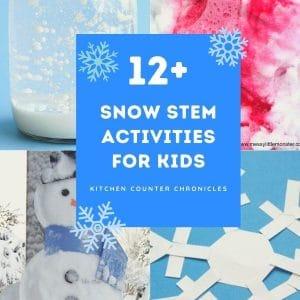 snow stem activities for kids collage of activities