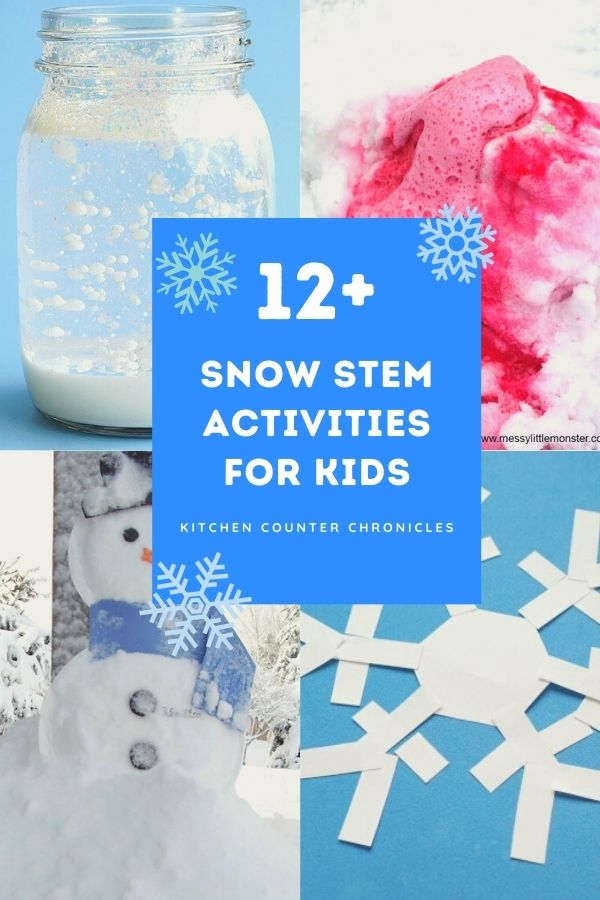 snow stem activities for kids collage of activities