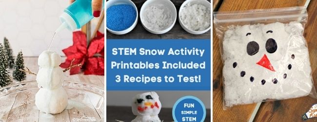 stem snow challenges for kids melt snowman fake snow snowman in bag