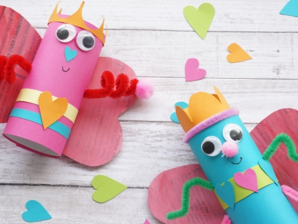 toilet paper roll love bugs with paper heart wings
