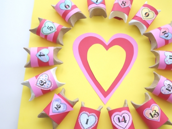 valentines day countdown candy boxes all glued to the board with a heart in the centre