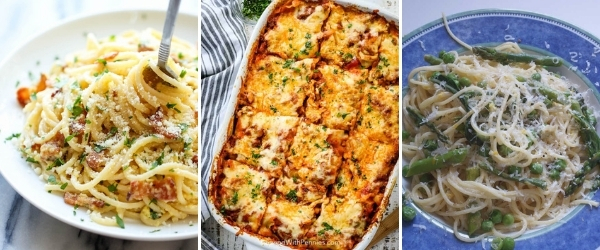 best pasta recipes for valentines day collage of lasagna carbonara and primavera