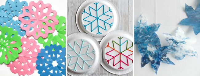 winter crafts for tweens to make paper snowflakes and yarn art