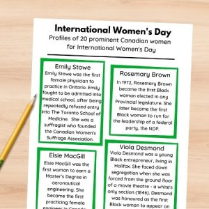 20 historic canadian women fact sheet printed out and on a table with a pencil