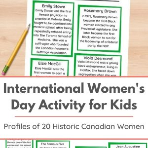 international womens day activity for kids printable historic canadian women fact sheet on table
