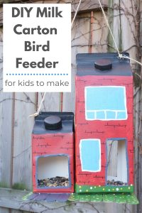 DIY bird feeder milk carton bird feeder hanging in tree