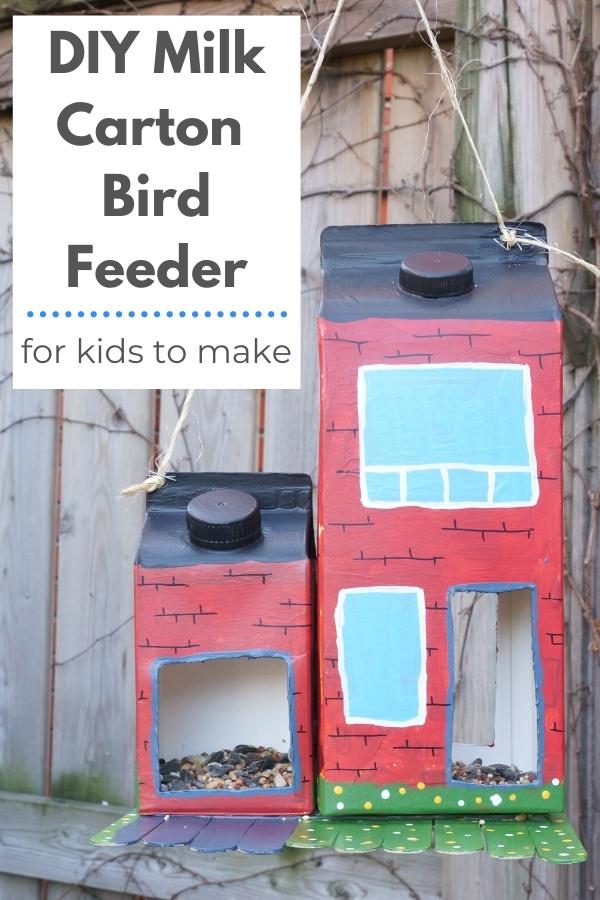 DIY bird feeder milk carton bird feeder hanging in tree