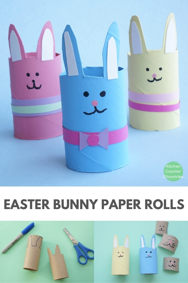 easter bunny made from toilet paper rolls easter craft for kids to make