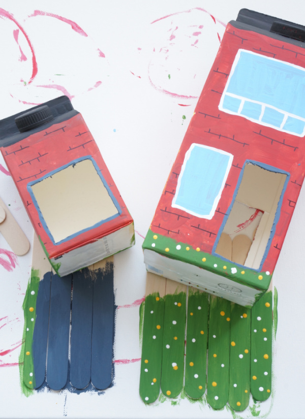 bird feeder perch made from craft sticks and painted like grass