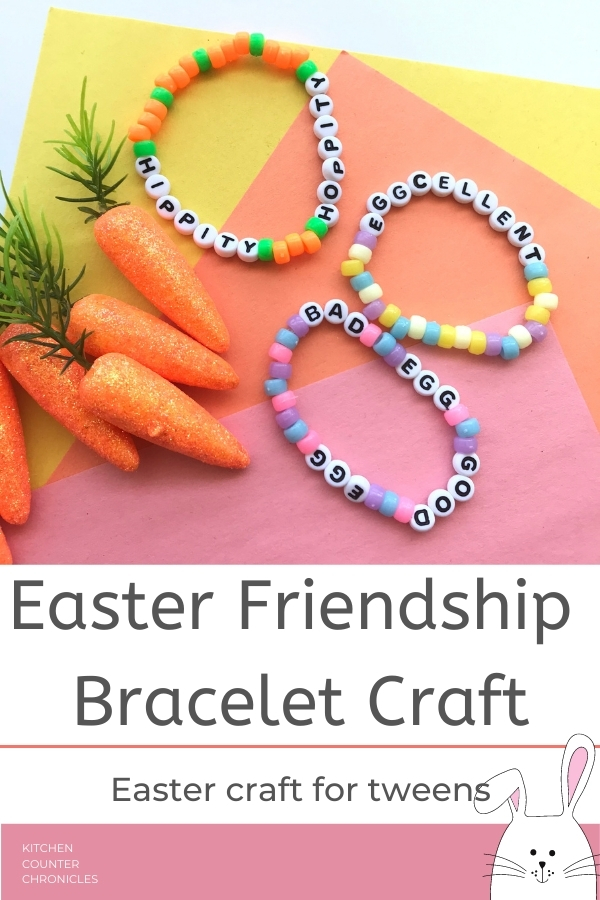 easter craft for tweens easter friendship bracelets on table with toy carrots