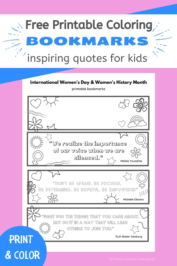 free printable coloring bookmarks for kids with inspiring quotes with pink background