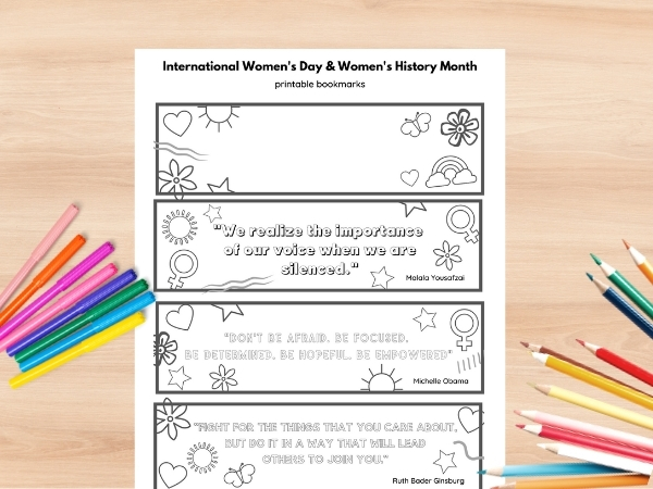 international womens day craft printable coloring bookmarks printed out