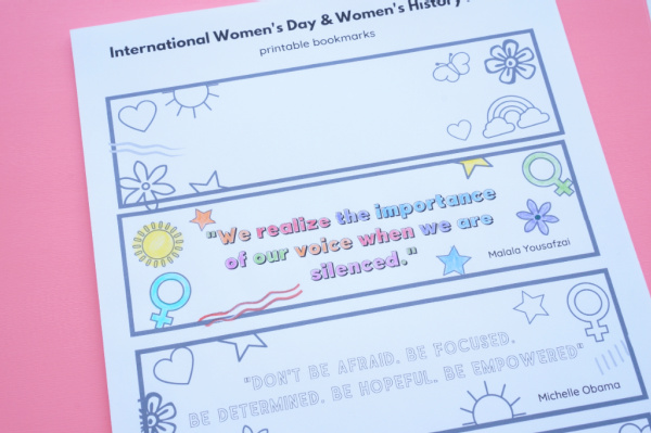 printable bookmarks for womens history month printed and one coloured in