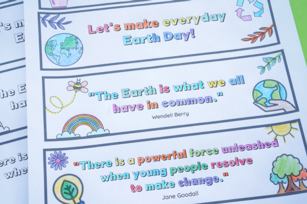earth day bookmarks coloured and not cutout