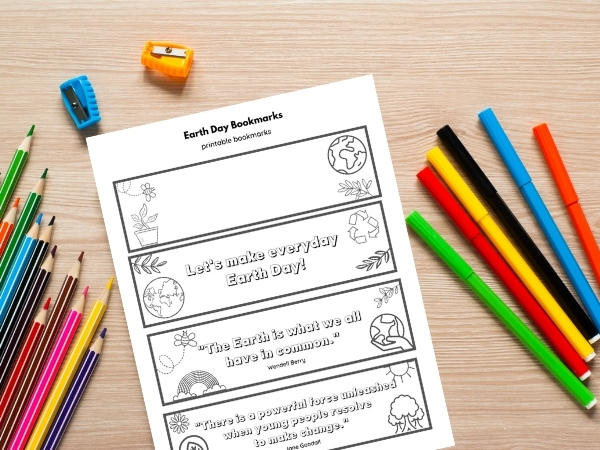 earth day printable bookmarks with pencils and crayons