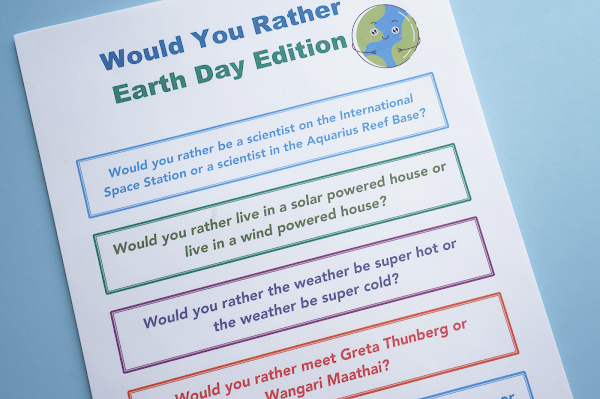 earth day would you rather questions for kids printed out on paper
