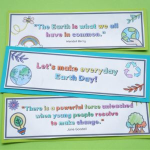 printable earth day activity for kids bookmarks colored and cutout