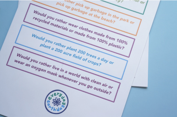would you rather earth day questions printed on paper and on table