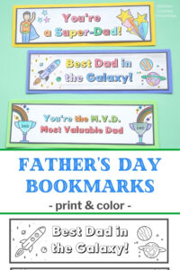 printable father's day bookmarks printed and coloured with title