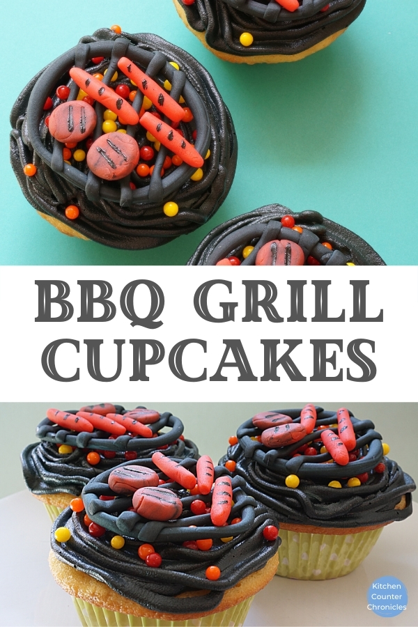 bbq grill cupcakes with title banner