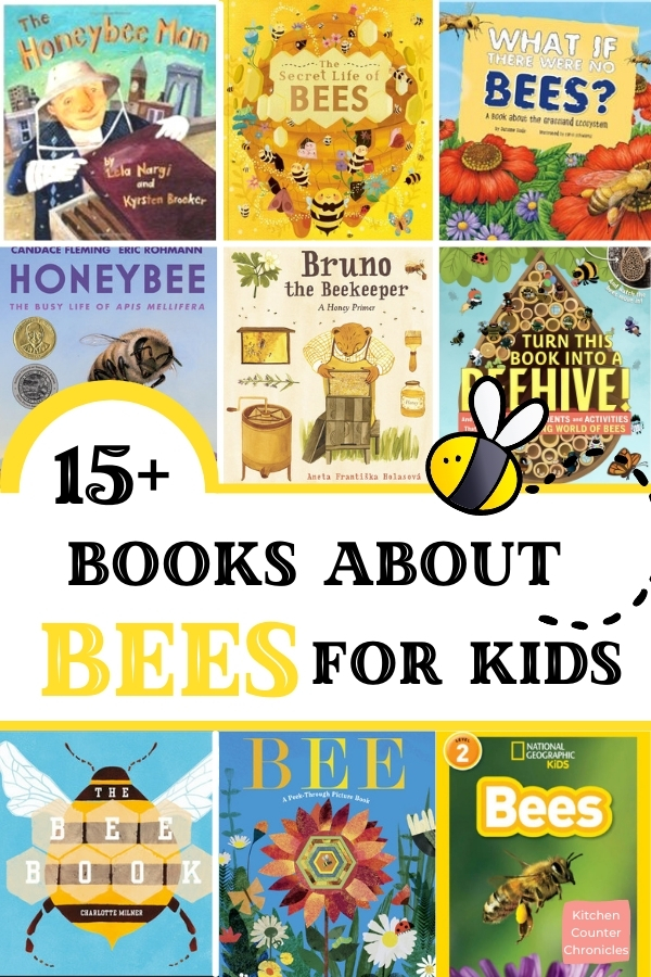 collage of books about bees for kids with title