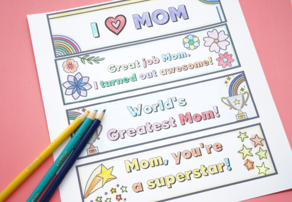coloured mothers day bookmarks with a few pencil crayons