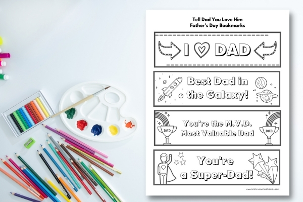 father's day bookmark printable on table with pencil crayons and paints