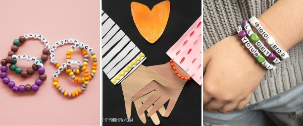 collage of friendship crafts for tweens hand art beaded bracelets