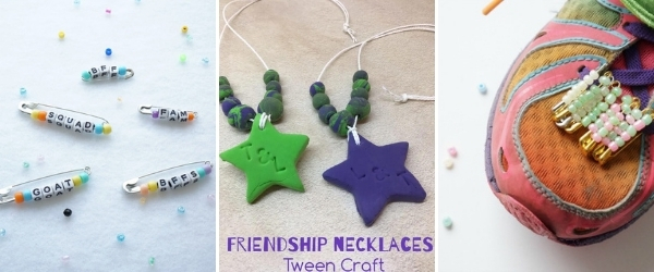 friendship crafts for tweens collage of necklace and friendship pins on shoes