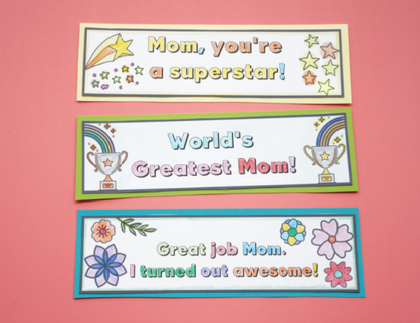 kid made mothers day bookmarks colored and cutout