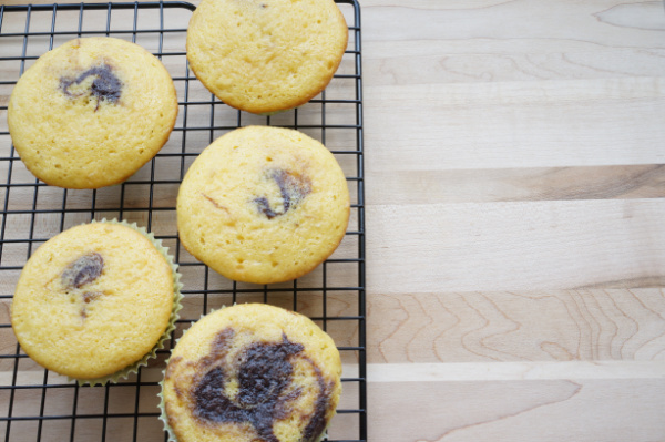 marble cupcakes on cooling rack