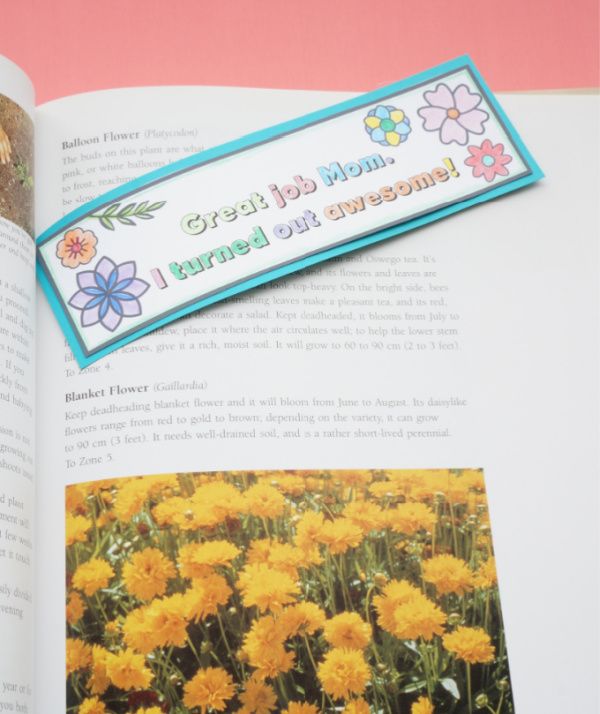 printable mothers day bookmark in gardening book