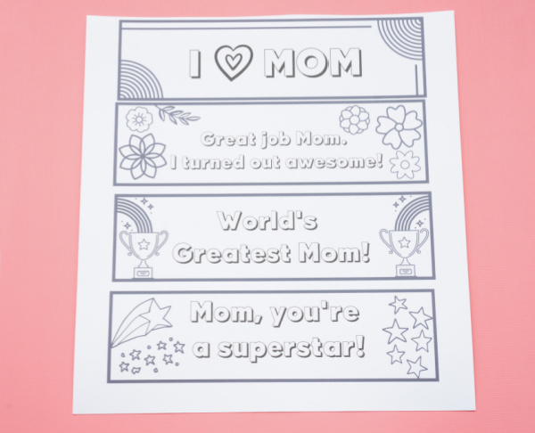 printable mothers day bookmarks uncolored printed on white paper