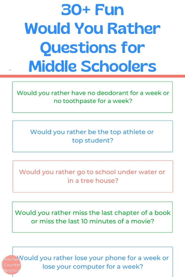 print out of 30 fun would you rather questions for middle school