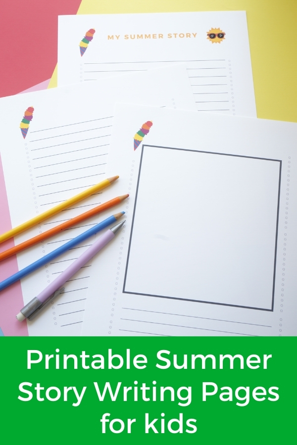 printable summer story writing pages for kids with title
