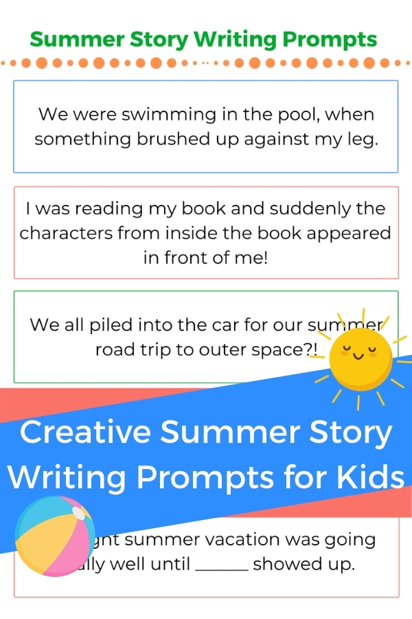 summer story writing prompts for kids printed out with title