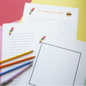 print out of complete set of summer story writing pages for kids with pencil and pencil crayons