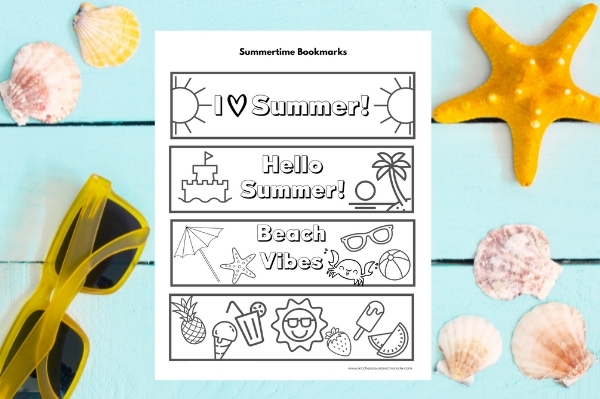 print out of summer coloring bookmarks for kids