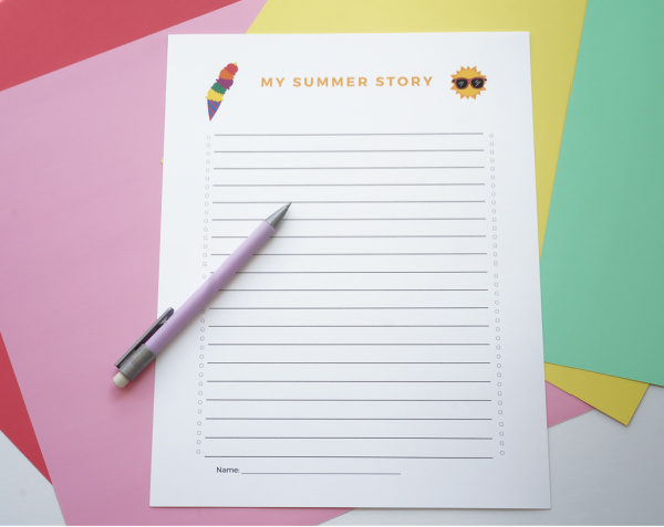 printable summer story writing page title page with pencil