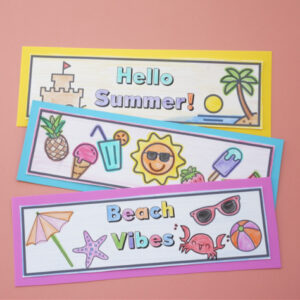 summer bookmarks colored and cut out on table