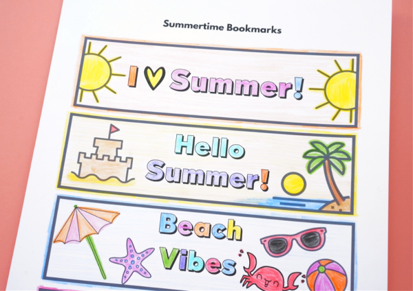 printout of summer colouring bookmarks