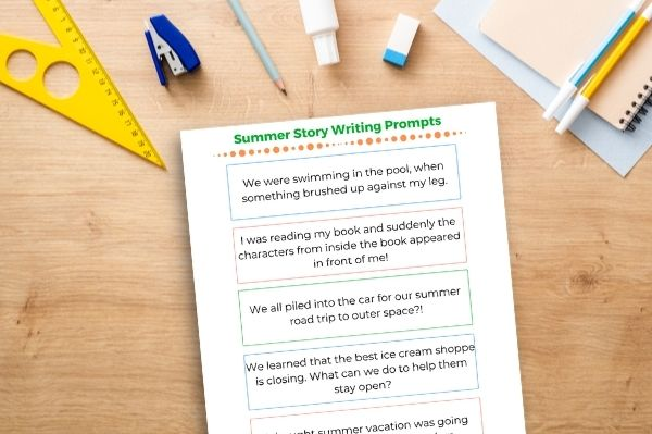 summer story writing prompts printed out on desk top
