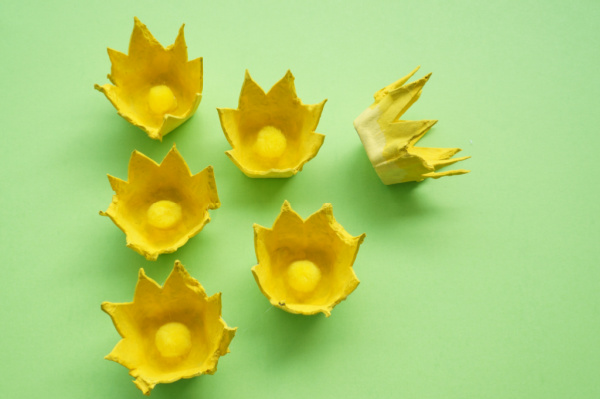 yellow egg carton flowers with pompom centres