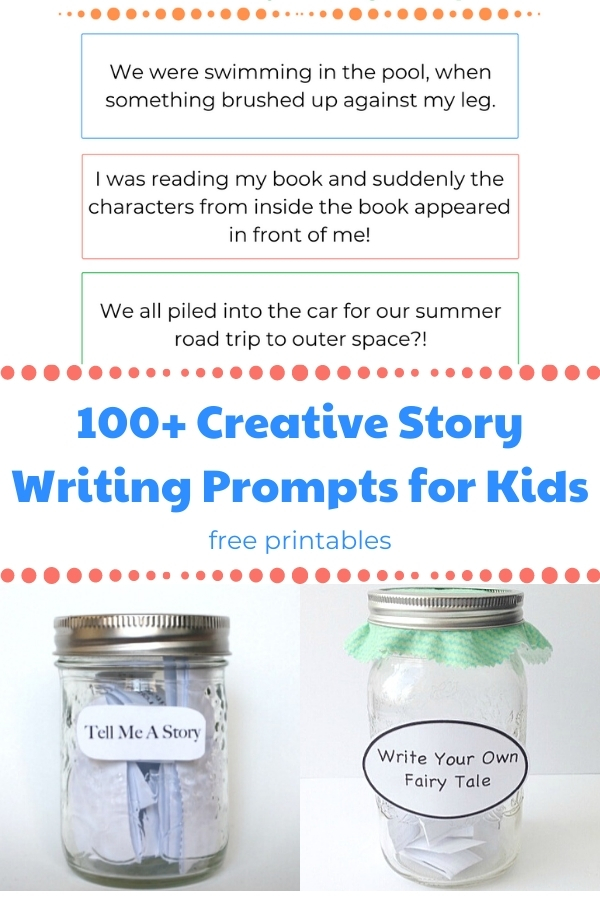 100+ Creative story writing prompts for kids collage and title