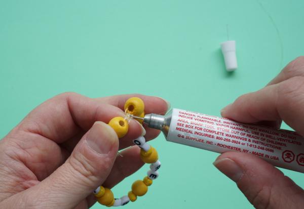 bead glue on bracelet knot
