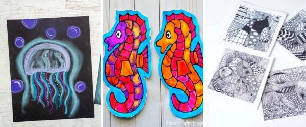 fun summer art activities for teens to make collage black glue seahorses zentangle and jellyfish