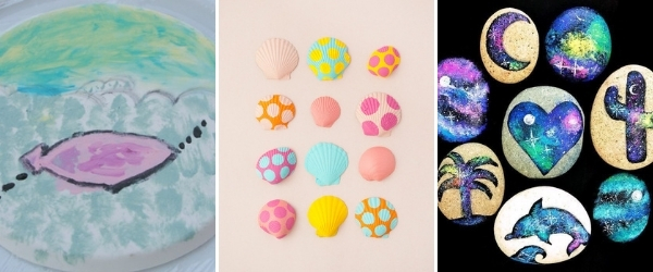 kid summer art projects to make collage painted seashells fresco painting painted galaxy rocks