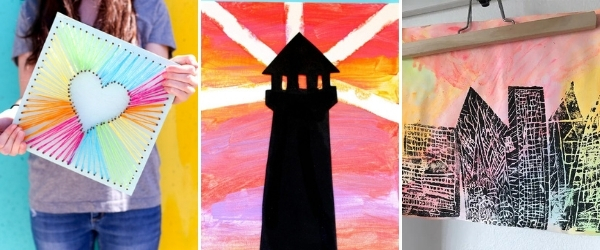 summer art projects for tweens to make string art tape resist art and printmaking