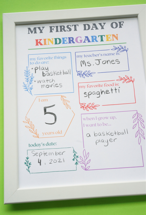 first day of school photo sign printed and in frame