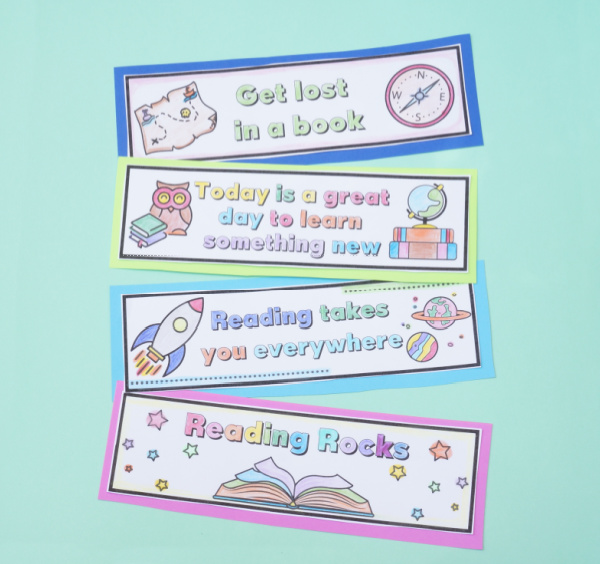 printable student bookmarks colored and cut out